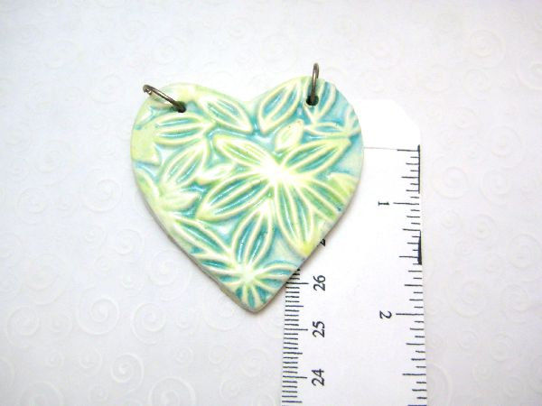 Large Blue Green Yellow Ceramic Flower Heart Handmade - product images  of