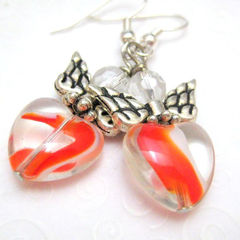 Handmade,Silver,Angel,Earrings,Red,Heart,Swirls,Jewelry,Dangle,handmade_earrings,angel_angels,heart_earrings,red,white,wings,dangle,casual,Christian,tasrete_team,beadsteam,silver_plated_ear_wires,lampwork_glass_beads,crystal_beads,silver_plated_wings