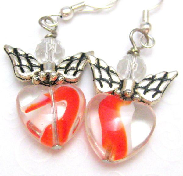Handmade Silver Angel Earrings Red Heart Swirls - product images  of