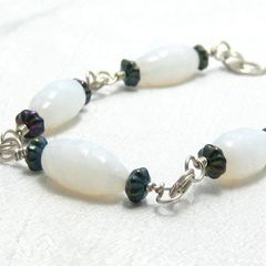 White,Vintage,Glass,Twist,Bead,Metallic,Black,Sterling,Silver,Bracelet,Jewelry,Wire_Wrapped,castteam,twisted_glass_bead,milky_white,iridescent_black,sterling_silver,women,accessories,elegant_and_simple,one_of_a_kind_ooak,whimsical,hand_crafted,milky_white_twist_glass_beads,iridescent_flower_spacer_beads,sterling_sil