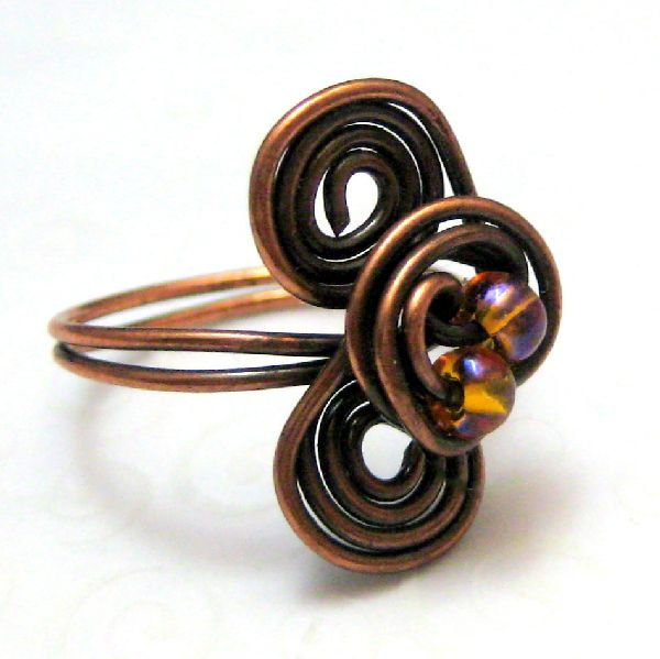 Wire Wrapped Handmade Copper Triple Spiral Ring Size Seven and a Half - product images  of