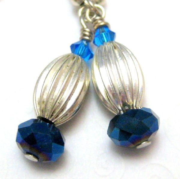 Bright Silver Navy Blue Handmade Earrings Midnight Moonlight - product images  of