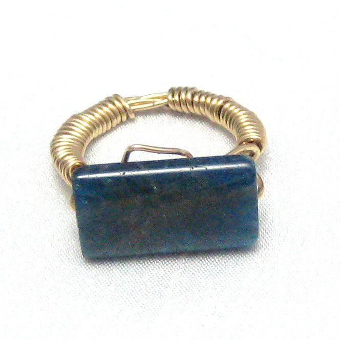 Marine Blue Apatite Gold Filled Wire Wrapped Ring Size 6 - product images  of