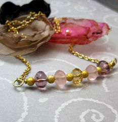 Lilac,Purple,Rose,Pink,and,Gold,Handmade,Necklace,Jewelry,Glass,handamade_necklace,lilac,purple,pink,gold,sparkle,chain,classic,evening_wear,formal,tasrete_team,beads_team,glass_beads,gold_plated_chain,gold_plated_findings