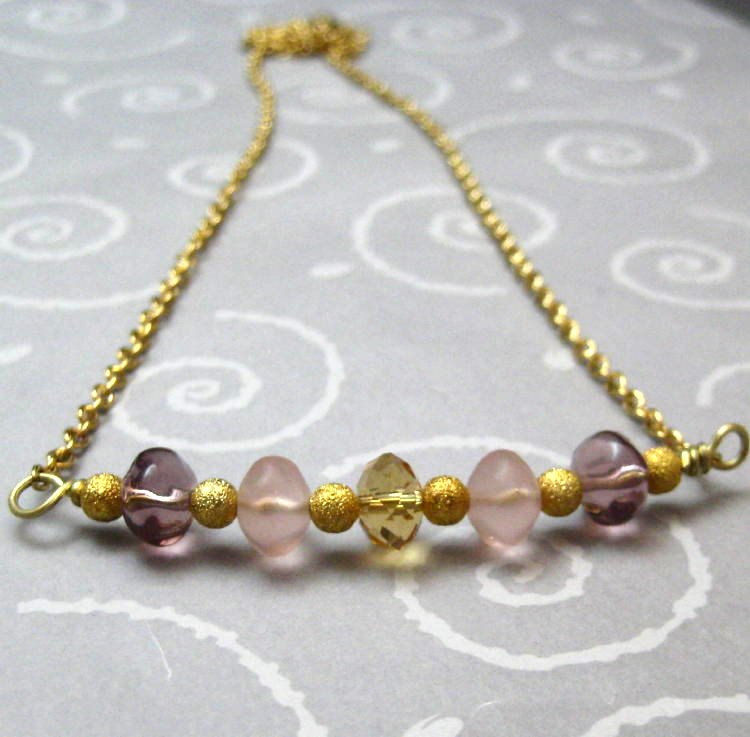 Lilac Purple Rose Pink and Gold Handmade Necklace - product images  of