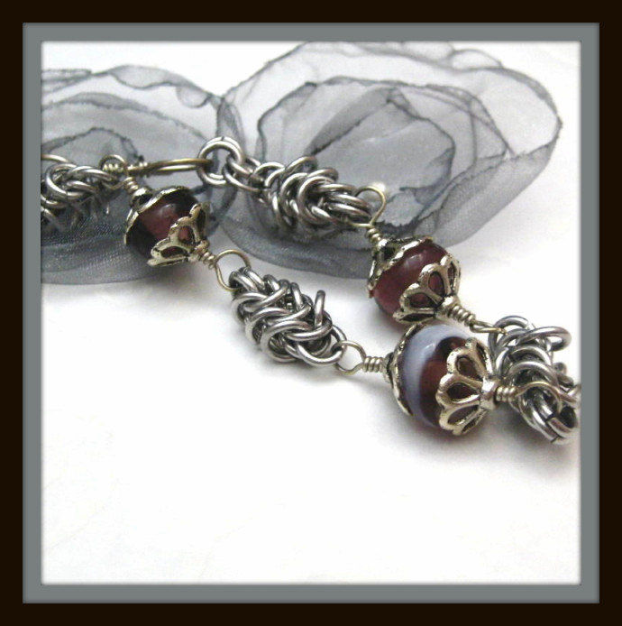 Purple And White Lampwork Glass Bracelet And Box Chain Chainmail Links - product images  of