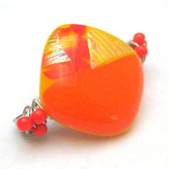 Orange,and,Yellow,Geometric,Pin,Brooch,Scarf,Jewelry,Glass,handmade_pin,brooch,scarf_pin,geometric,diamond,orange,yellow,dichroic_fused_glass,tasrette_team,beadsteam,fire_divas_team,sparkle,fused_glass,silver_plated_pin_back