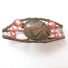 Copper,Pink,Pearl,and,Jasper,Wire,Wrapped,Cuff,Bracelet,Jewelry,wire_wrapped,stone,metal,copper,pink,jasper,flexible,freshwater_pearls,rme,teamcac,teamsassy,tasrete_team,beadsteam,copper_wire,pink_freshwater_pearls