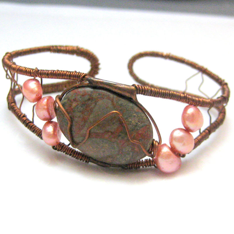 Copper Pink Pearl and Jasper Wire Wrapped Cuff Bracelet - product images  of