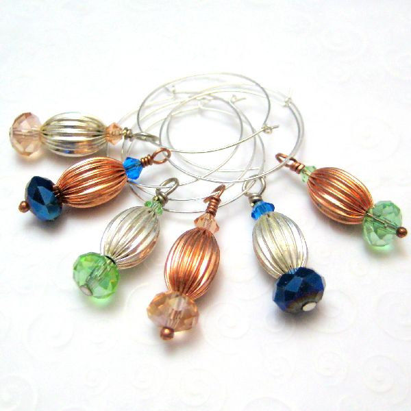 Copper and Silver Handmade Wine Charms Blue Green Peach - product images  of