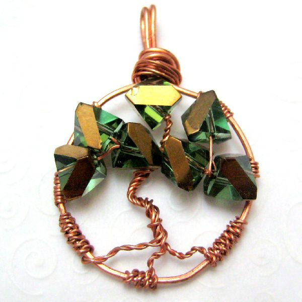 Handmade Tree of Life Copper Pendant Green and Gold - product images  of
