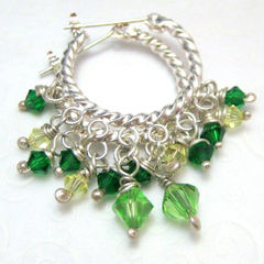 Bright,Green,Crystal,and,Silver,Hoop,Earrings,Jewelry,hoop_earrings,green,swarovski_crystals,St_Patricks_day,tasrete_team,beadsteam,handmade_earrings,dangle,formal,elegant,night_out,dressy,sterling_silver_wire,silver_plated_hoops