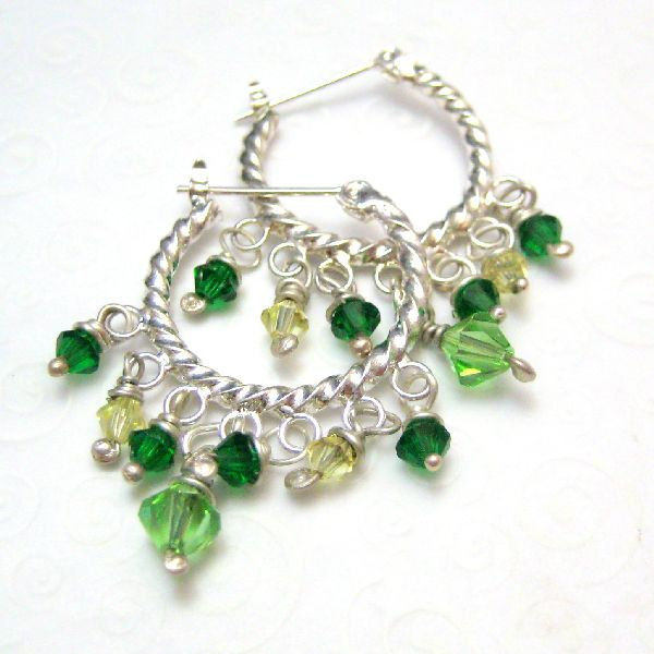 Bright Green Crystal and Silver Hoop Earrings - product images  of