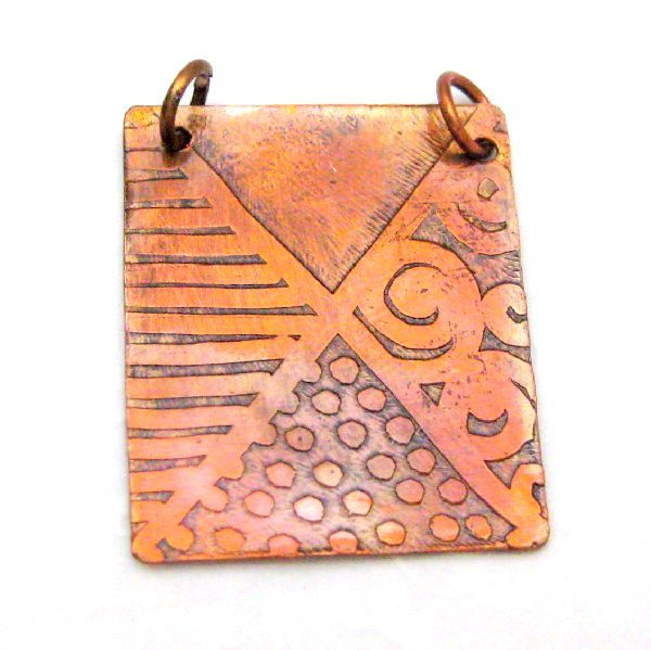 Handmade Etched Original Abstract Art Copper Pendant - product images  of