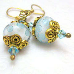 Handmade,Lampwork,Glass,Earrings,Polar,Ice,Jewelry,Dangle,blue,white,gold,dots,handmade_earrings,lampwork_earrings,flirty,dangle,tastrete_team,beads_team,fire_divas_team,casual,handmade_lampwork_glass,gold_plated_findings,gold_plated_ear_wires,swarovski_crytals