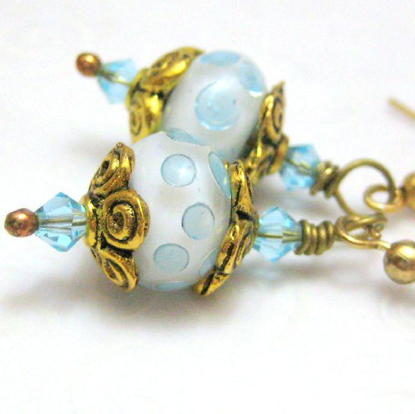 Handmade Lampwork Glass Earrings Polar Ice - product images  of