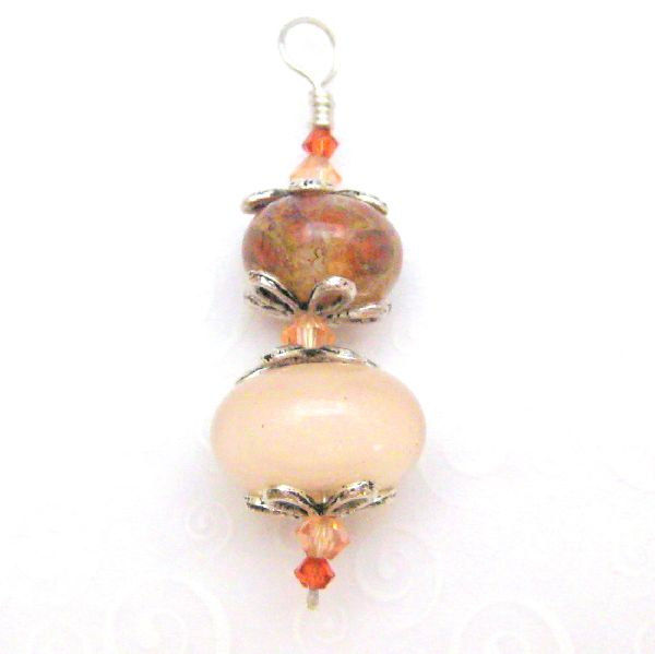 Sterling Silver Handmade Lampwork Glass Bead Pendant Pink and Peach Swirl - product images  of