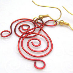 Musical,Notes,in,Red,Handmade,Wire,Earrings,Clef,Jewelry,Metal,handmade_earrings,musical_notes,clef_sign,musician,red,wire_wrapped,silverriverjewelry,beadsteam,tastrete_team,wire,gold_plated_ear_wires