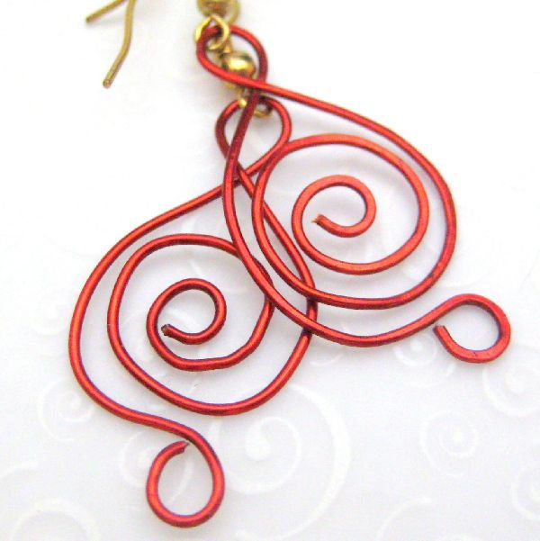 Musical Notes in Red Handmade Wire Earrings Clef - product images  of
