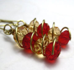 Spiral,Ruby,Red,Golden,Yellow,Handmade,Brass,Wire,Wrapped,Earrings,Jewelry,Glass,handmade_earrings,wire_wrapped,spiral,ruby_red,yellow,gold,brass,dangle,formal,beads_team,tasrete_team,elegant,sparkle,crystals,brass_wire