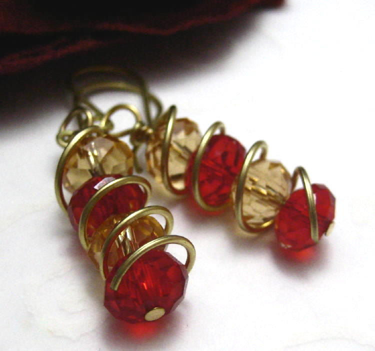 Spiral Ruby Red Golden Yellow Handmade Brass Wire Wrapped Earrings - product images  of