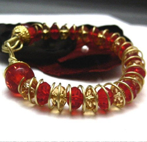 Artisan Brass Cuff Bracelet Ruby Red Gold Yellow Crystals - product images  of