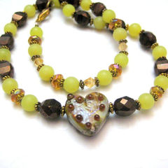 Handmade,Lampwork,Glass,Heart,Necklace,Copper,Bronze,Green,Beaded,Jewelry,handmade_necklace,lampwork_glass,light_green,amber,brown,heart,serpentine,tasrete_team,beadsteam,beaded_necklace,copper,casual,lampwork_glass_heart,green_serpentine,beading_wire,copper_beads,gold_plated_lobster_clasp