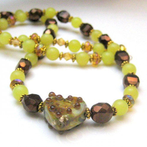 Handmade Lampwork Glass Heart Necklace Copper Bronze Green Beaded - product images  of