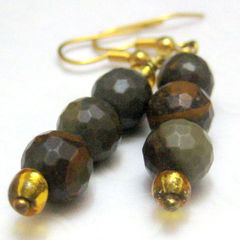 Tigers,Eye,Faceted,Gemstone,and,Gold,Handmade,Earrings,Jewelry,Stone,handmade_earrings,tigers_eye,faceted,gold,brown,grey_gray,dangle,tasrete_team,beadsteam,formal,rustic,earthy,faceted_tigers_eye_beads,gold_plated_wire,seed_beads