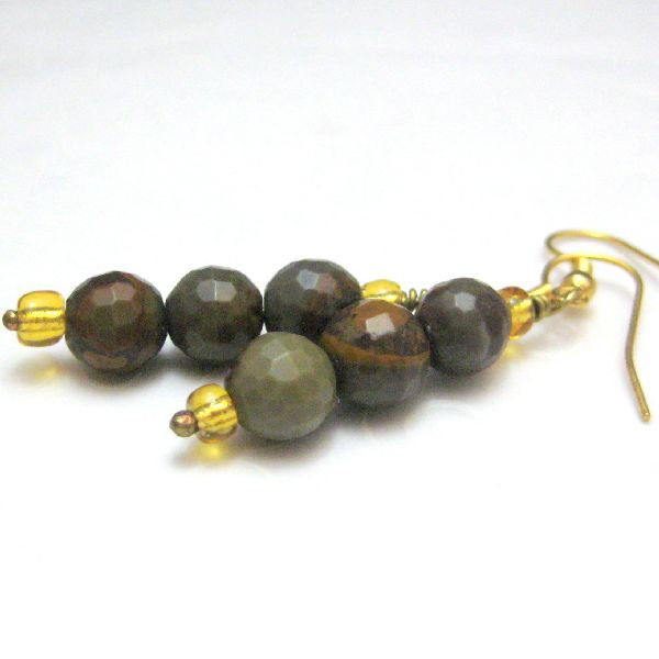 Tigers Eye Faceted Gemstone and Gold Handmade Earrings - product images  of