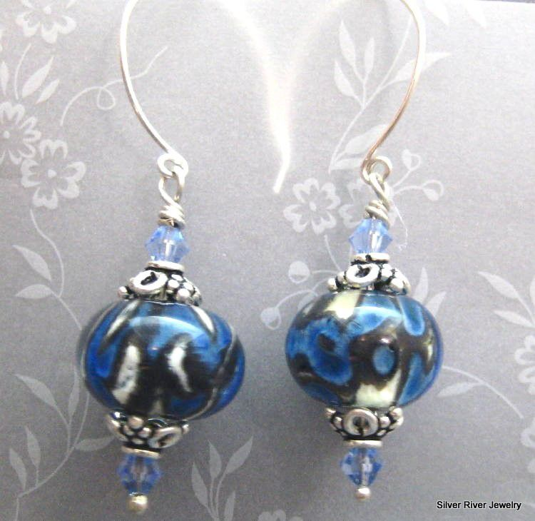 Handmade Lampwork and Sterling Earrings Silvery Blue - product images  of