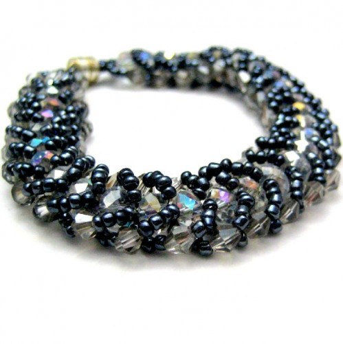 Handmade Beadwovern Flat Spiral Stitch Bracelet Midnight Blue Ice - product images  of
