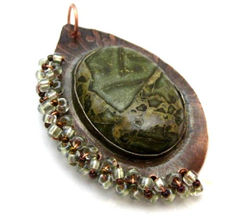 Handmade,Etched,Copper,Rainforest,Jasper,Beaded,Pendant,Jewelry,Metal,pendant,copper,metal,etched,beaded,green,rainforest_jasper,tasrete_team,handmade_pendant,original_art,mideival,renaissance,copper_sheet,copper_wire,seed_beads,fine_silver_bezel_wire