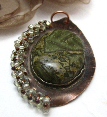 Handmade Etched Copper Rainforest Jasper Beaded Pendant - product images  of