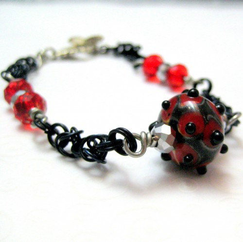 Red and Black Handmade Chainmaille Lampwork Bracelet - product images  of