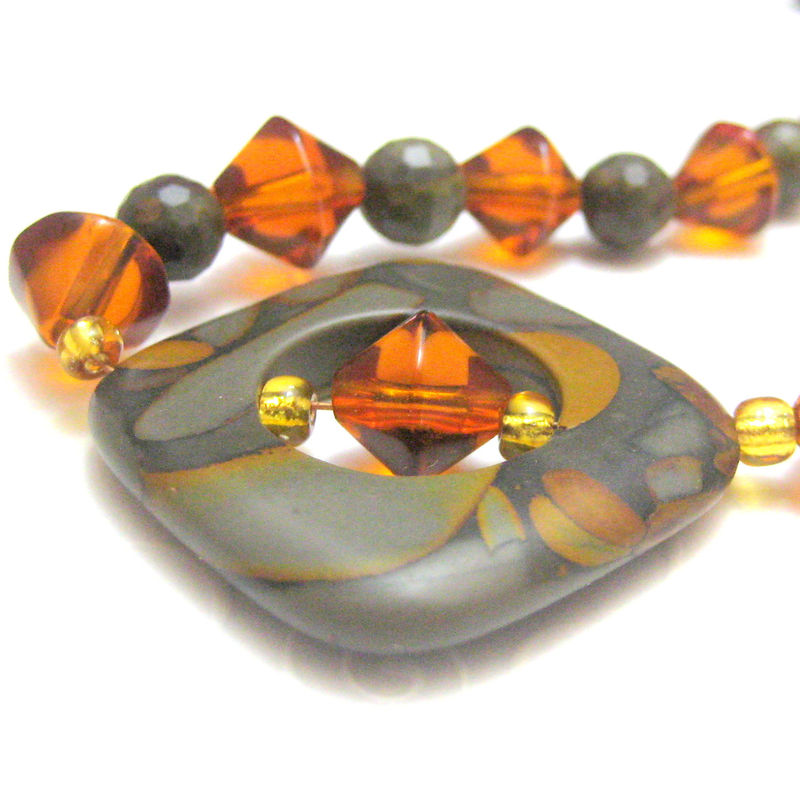 Handmade Tigers Eye Amber and Gold Crystal Bead Necklace - product images  of