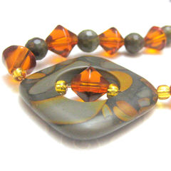 Handmade,Tigers,Eye,Amber,and,Gold,Crystal,Bead,Necklace,Jewelry,Stone,handmade_necklace,tigers_eye,crystal,tasrete_team,beads_team,brown,amber,orange,gold,yellow,glass,gold_plated_clasp