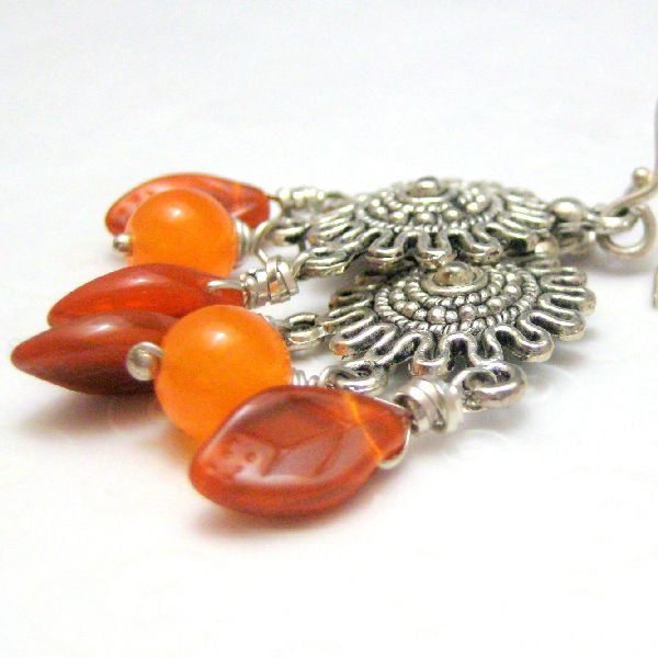 Burnt Orange Carnelian and Silver Southwestern Style Handmade Earrings - product images  of