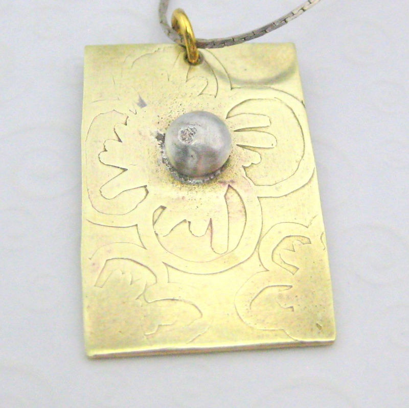 Industrial Flowers Handmade Metal Pendant Brass and Sterling Silver - product images  of