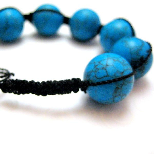 Black and Turquoise Handmade Braided Bracelet - product images  of