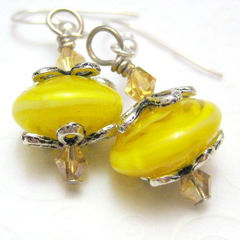Lemon,Yellow,Handmade,Lampwork,Glass,and,Silver,Earrings,Jewelry,handmade_earrings,handamde_lampwork,glass,silver,lemon_yellow,bright,tasrete_team,fire_divas_team,cheerful,flower,swarovsi_crysals,handmade_lampwork_glass,silver_plated_findings