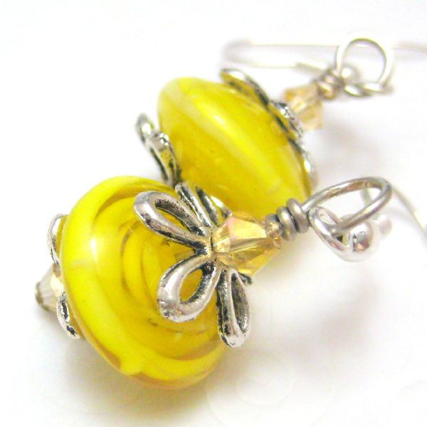Lemon Yellow Handmade Lampwork Glass and Silver Earrings - product images  of