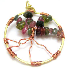 Mixed,Metal,Watermelon,Tourmaline,Tree,Of,LIfe,Pendant,Jewelry,handmade_pendant,tree_of_life,copper,brass,wire_wrapped,large,earthy,watermelon,tourmaline,tasrete_team,beadsteam,earthy_rustic,organic,wtermelon_tourmalie,brass_wire,copper_wire