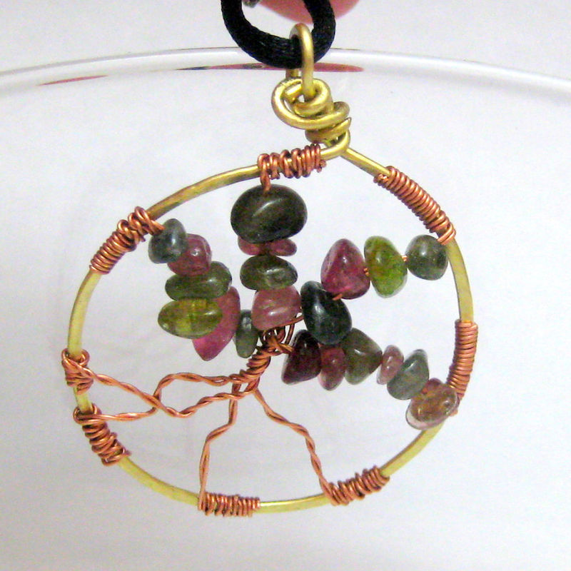 Mixed Metal Watermelon Tourmaline Tree Of LIfe Pendant - product images  of