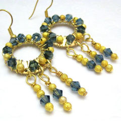 Handmade,Wire,Wrapped,Dangle,Hoop,Earrings,Gold,and,Blue,Jewelry,Wire_Wrapped,handmade_earrings,dangle_earrings,blue,gold,wire_wrapped,elegant,formal,dressy,night_out,tasrete_team,beadsteam,swarovski_crystals,gold_plated_findings,gold_plated_ear_wires