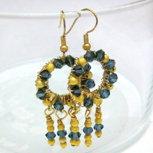 Handmade Wire Wrapped Dangle Hoop Earrings Gold and Blue - product images  of