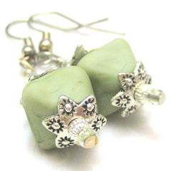 Sage,Green,and,Silver,Handmade,Lampwork,Glass,Earrings,Jewelry,Dangle,handmade_earrings,lampwork_earrings,sage_green,etched,diamond,silver,crystal,tasrete_team,earthy,romantic,casual,elegant,fire_divas_team,handmade_lampwork_glass,silver_plated_findings,crystals