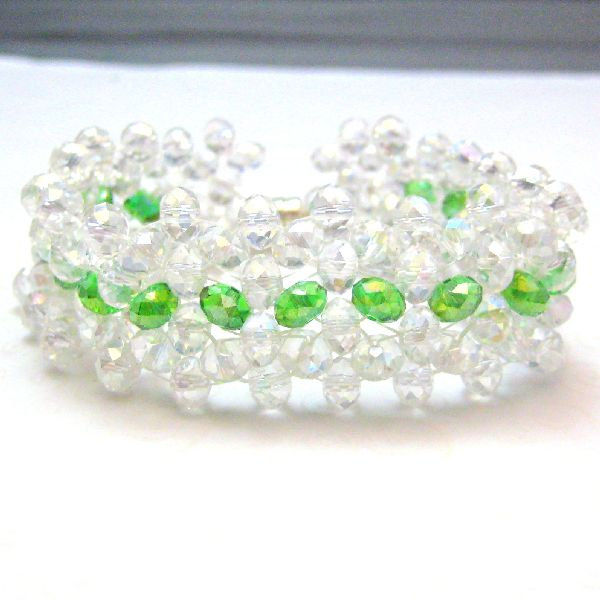 Handmade Crystal Beaded Bracelet White and Green Icy Spring - product images  of