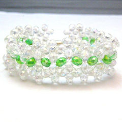 Handmade,Crystal,Beaded,Bracelet,White,and,Green,Icy,Spring,Jewelry,Beadweaving,handmade_bracelet,beaded_bracelet,beadwoven_bracelet,white,green,crystal_bracelet,tasrete_team,spring,summer,formal,prom,wedding,glass_crystals,beading_thread,magnetic_clasp