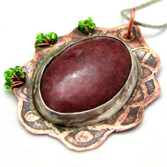 Handmade,Metal,and,Stone,Copper,Pendant,Etched,Wire,Wrapped,Maroon,Jewelry,Metalwork,handamade_pendant,metal_pendant,beaded_pendant,maroon,green,copper_pendant,medieval,renaissance,organic,rustic,etched,tasrete_team,stone,copper,seed_beads,wire